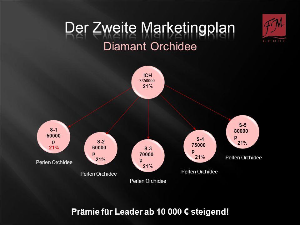 ICH 3350000 21% S-2 60000 p 21% S-1 50000 p 21% S-3 70000 p 21% S-4 75000 p 21% S-5 80000 p 21% Perlen Orchidee Prämie für Leader ab 10 000 steigend.