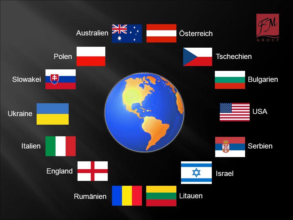 Australien Österreich Tschechien Bulgarien Litauen Polen Serbien Rumänien Slowakei England Israel Italien USA Ukraine