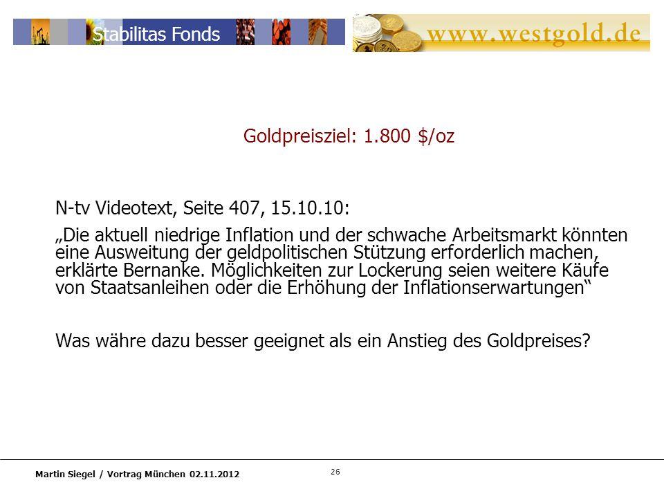 26 Martin Siegel / Vortrag München 02.11.2012 Stabilitas Fonds Goldpreisziel: 1.800 $/oz N-tv Videotext, Seite 407, 15.10.10: Die aktuell niedrige Inflation und der schwache Arbeitsmarkt könnten eine Ausweitung der geldpolitischen Stützung erforderlich machen, erklärte Bernanke.