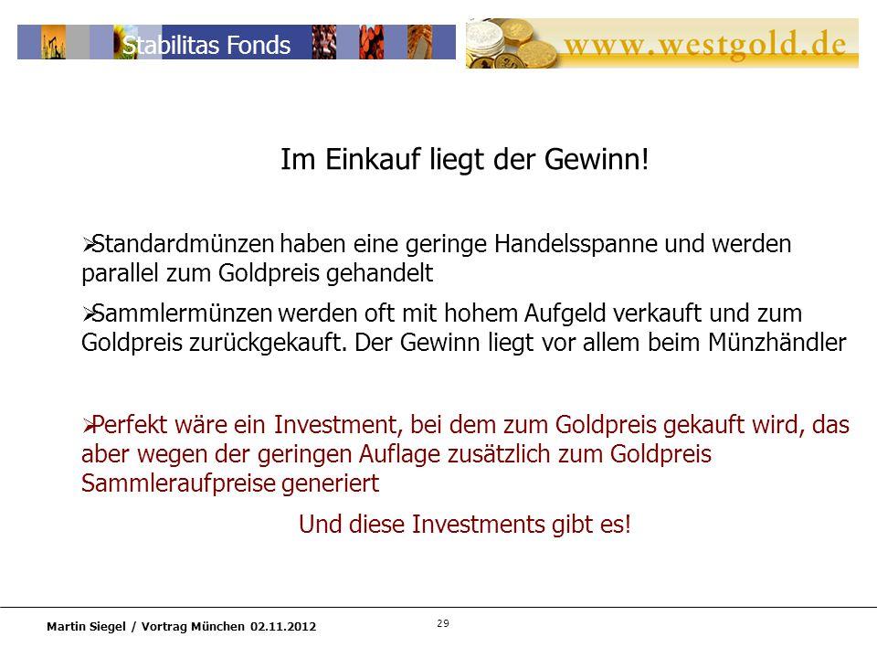 29 Martin Siegel / Vortrag München 02.11.2012 Stabilitas Fonds Im Einkauf liegt der Gewinn.