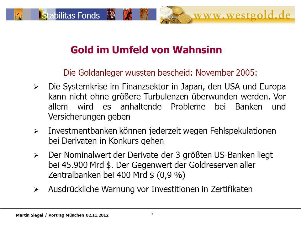 3 Martin Siegel / Vortrag München 02.11.2012 Stabilitas Fonds Die Goldanleger wussten bescheid: November 2005: Die Systemkrise im Finanzsektor in Japan, den USA und Europa kann nicht ohne größere Turbulenzen überwunden werden.