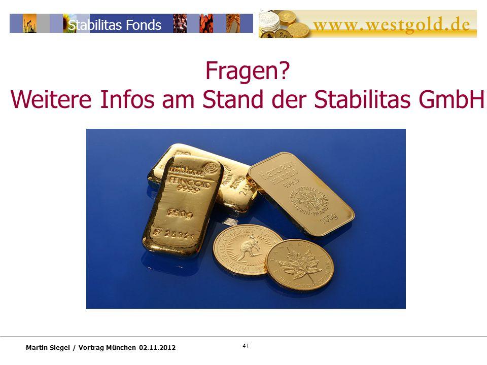 41 Martin Siegel / Vortrag München 02.11.2012 Stabilitas Fonds Fragen.