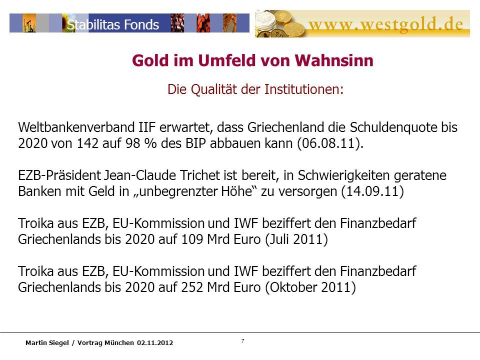 7 Martin Siegel / Vortrag München 02.11.2012 Stabilitas Fonds Die Qualität der Institutionen: Weltbankenverband IIF erwartet, dass Griechenland die Schuldenquote bis 2020 von 142 auf 98 % des BIP abbauen kann (06.08.11).