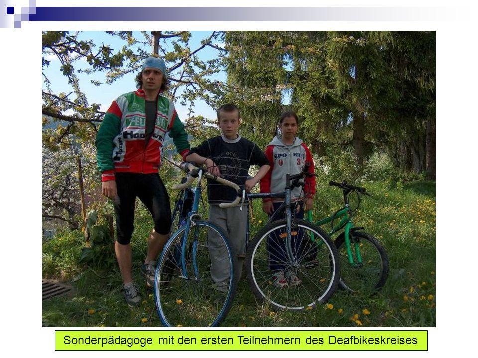 Sekundäre Ziele: Sich an Bedingungsbildung für Bewegung auf den Fahrrädern für Kinder mit Hörbeschädigung zu beteiligen – Mountbikes für Kinder aus den sozialschwachen Familien zu kaufen.