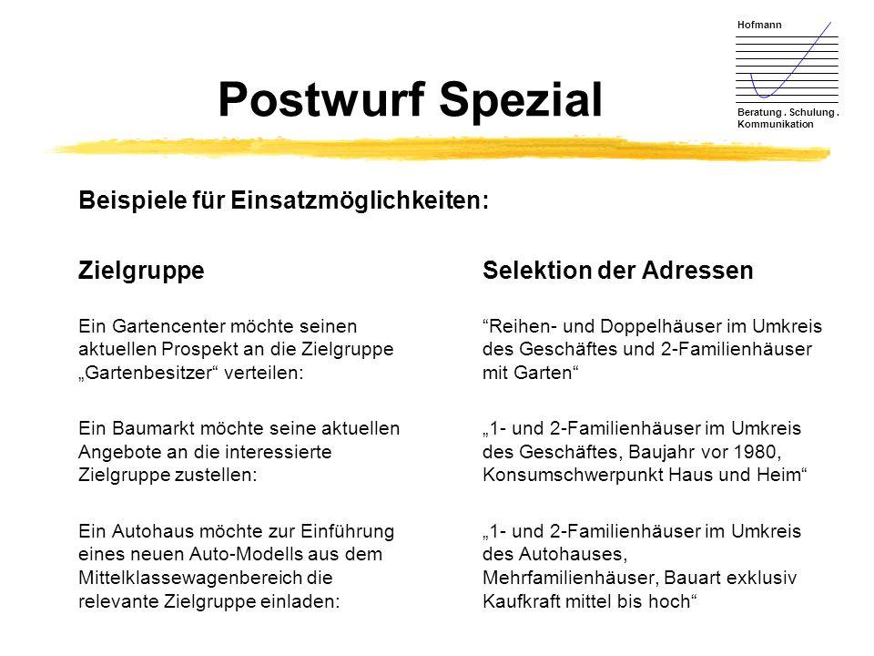 Hofmann Beratung. Schulung. Kommunikation Postwurf Spezial Beispiele für Einsatzmöglichkeiten: ZielgruppeSelektion der Adressen Ein Gartencenter möcht