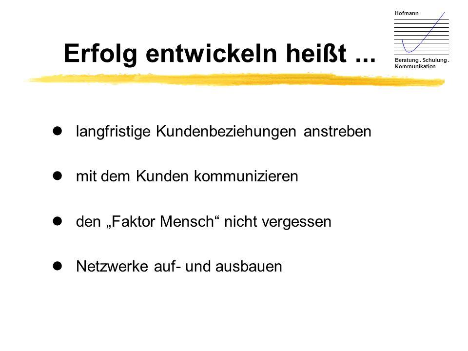 Hofmann Beratung.Schulung. Kommunikation Erfolg entwickeln heißt...