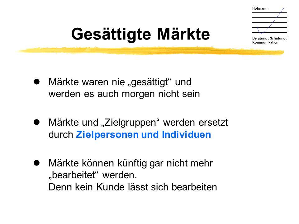 Hofmann Beratung. Schulung. Kommunikation Gesättigte Märkte lMärkte waren nie gesättigt und werden es auch morgen nicht sein lMärkte und Zielgruppen w