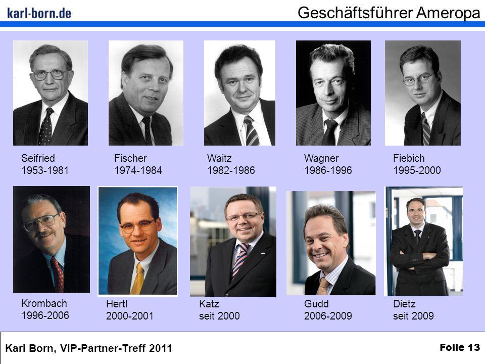 Karl Born, VIP-Partner-Treff 2011 Folie 13 Seifried 1953-1981 Fischer 1974-1984 Waitz 1982-1986 Wagner 1986-1996 Fiebich 1995-2000 Krombach 1996-2006