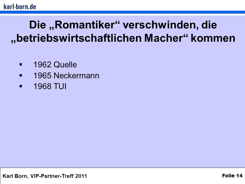 Karl Born, VIP-Partner-Treff 2011 Folie 14 Die Romantiker verschwinden, die betriebswirtschaftlichen Macher kommen 1962 Quelle 1965 Neckermann 1968 TU