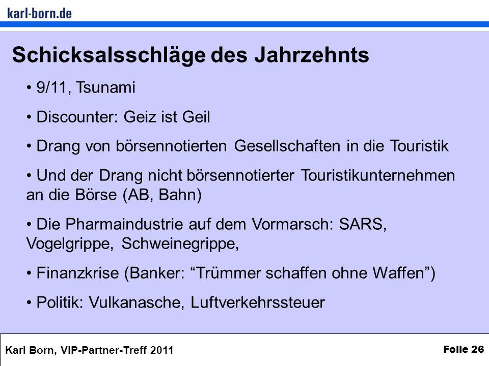 Karl Born, VIP-Partner-Treff 2011 Folie 26 Schicksalsschläge des Jahrzehnts 9/11, Tsunami Discounter: Geiz ist Geil Drang von börsennotierten Gesellsc