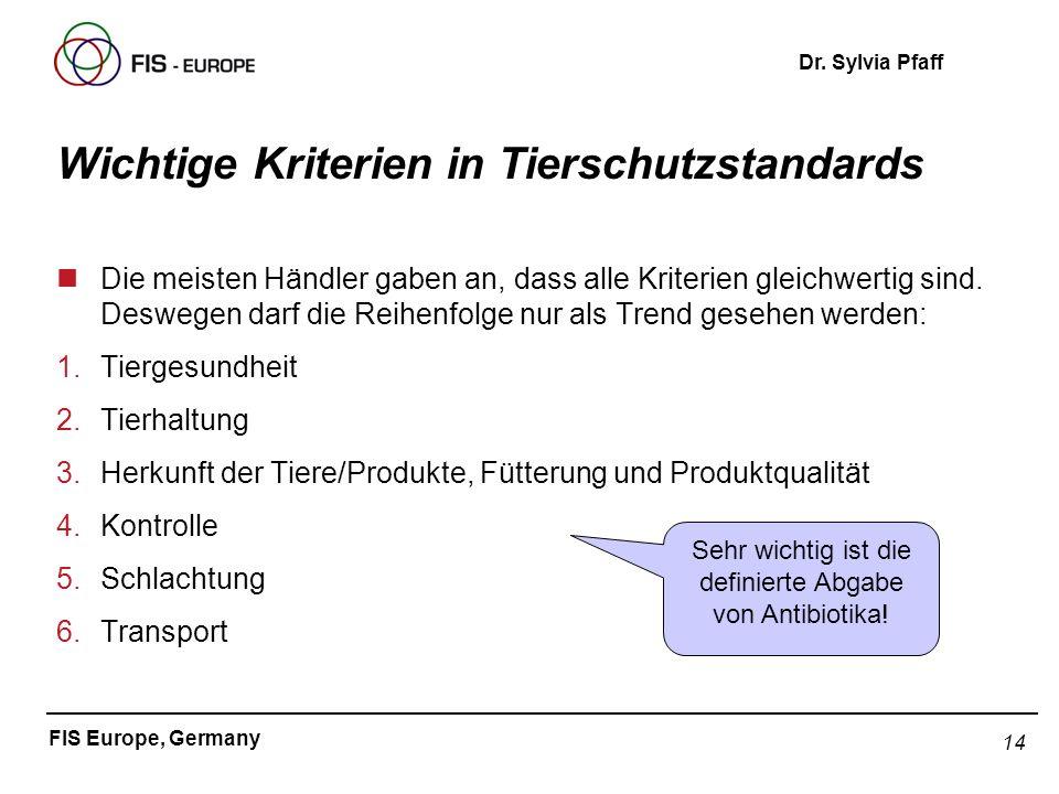 14 FIS Europe, Germany Dr. Sylvia Pfaff Wichtige Kriterien in Tierschutzstandards nDie meisten Händler gaben an, dass alle Kriterien gleichwertig sind