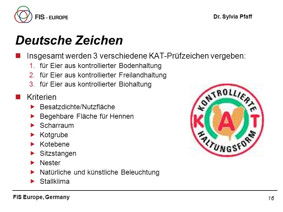 16 FIS Europe, Germany Dr. Sylvia Pfaff Deutsche Zeichen nInsgesamt werden 3 verschiedene KAT-Prüfzeichen vergeben: 1.für Eier aus kontrollierter Bode