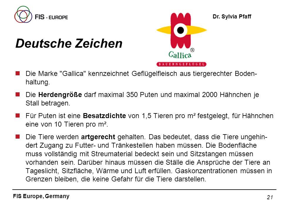 21 FIS Europe, Germany Dr. Sylvia Pfaff Deutsche Zeichen nDie Marke