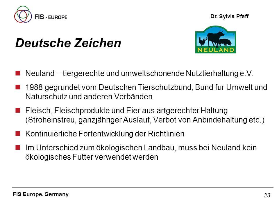 23 FIS Europe, Germany Dr. Sylvia Pfaff Deutsche Zeichen nNeuland – tiergerechte und umweltschonende Nutztierhaltung e.V. n1988 gegründet vom Deutsche