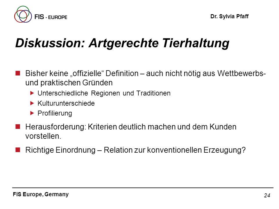 24 FIS Europe, Germany Dr. Sylvia Pfaff Diskussion: Artgerechte Tierhaltung nBisher keine offizielle Definition – auch nicht nötig aus Wettbewerbs- un