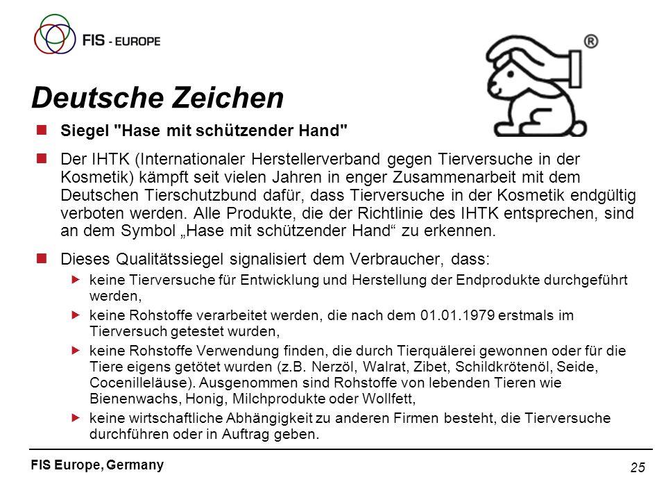 25 FIS Europe, Germany Dr. Sylvia Pfaff Deutsche Zeichen nSiegel