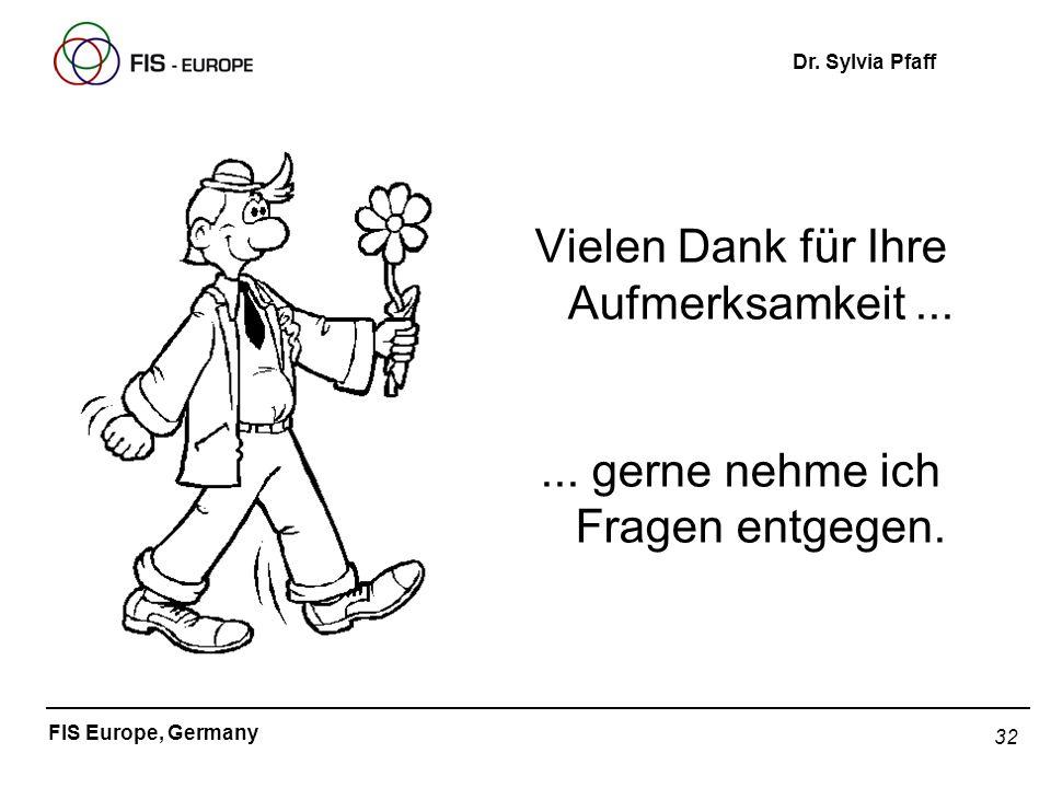 32 FIS Europe, Germany Dr. Sylvia Pfaff Vielen Dank für Ihre Aufmerksamkeit...... gerne nehme ich Fragen entgegen.