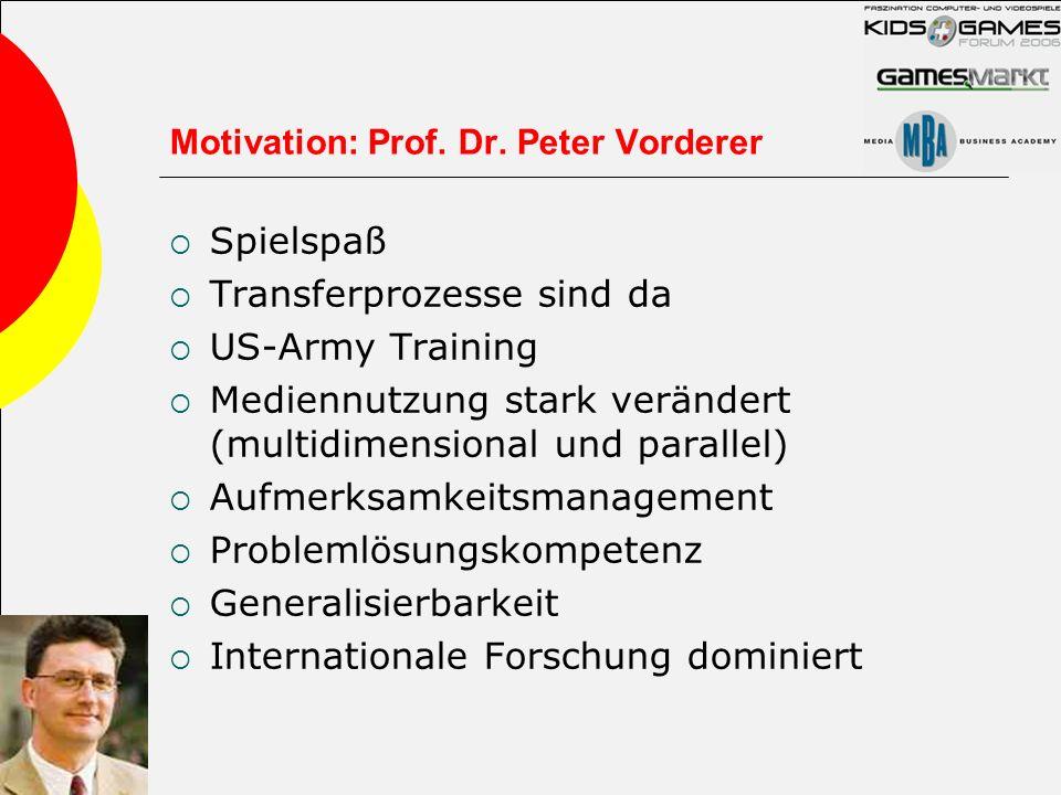 Motivation: Prof. Dr. Peter Vorderer Spielspaß Transferprozesse sind da US-Army Training Mediennutzung stark verändert (multidimensional und parallel)