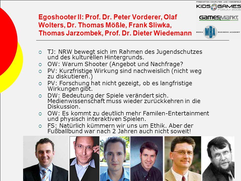 Egoshooter II: Prof. Dr. Peter Vorderer, Olaf Wolters, Dr. Thomas Mößle, Frank Sliwka, Thomas Jarzombek, Prof. Dr. Dieter Wiedemann TJ: NRW bewegt sic