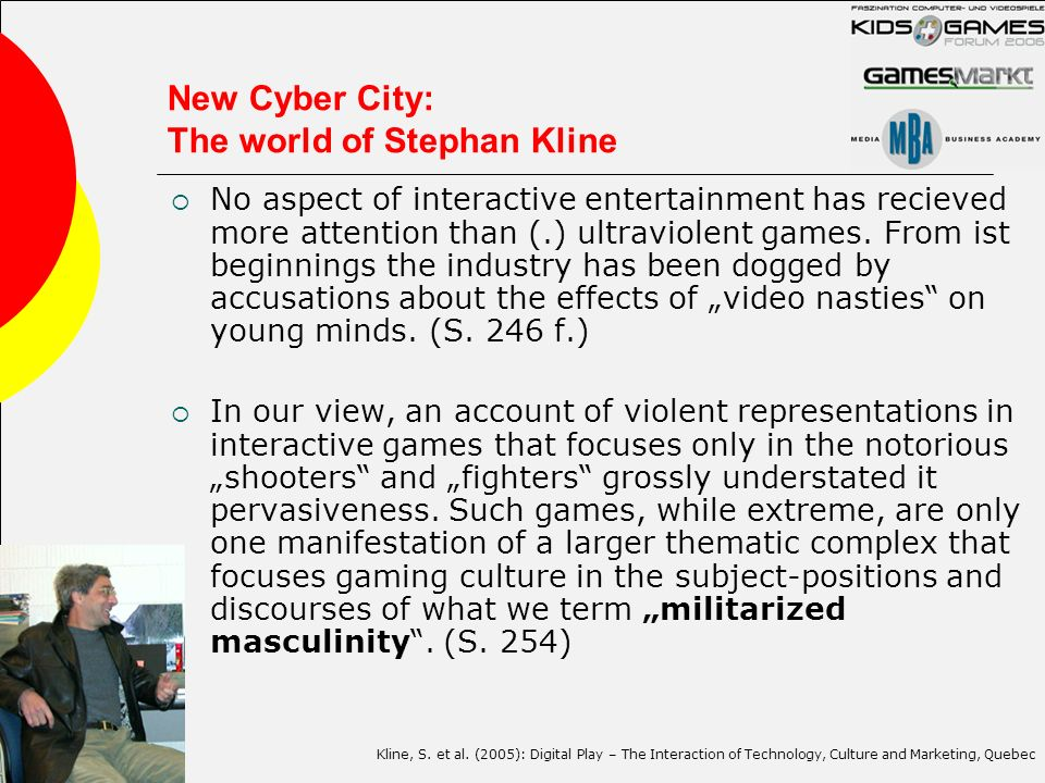 New Cyber City: The world of Stephan Kline No aspect of interactive entertainment has recieved more attention than (.) ultraviolent games. From ist be