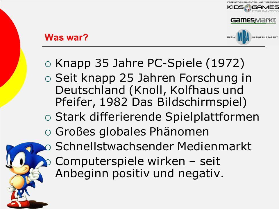 Was war? Knapp 35 Jahre PC-Spiele (1972) Seit knapp 25 Jahren Forschung in Deutschland (Knoll, Kolfhaus und Pfeifer, 1982 Das Bildschirmspiel) Stark d