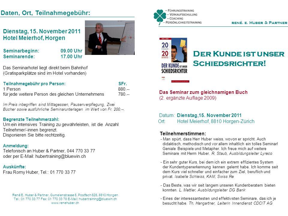 Das Seminar zum gleichnamigen Buch (2. ergänzte Auflage 2009) Datum: Dienstag,15. November 2011 Ort: Hotel Meierhof, 8810 Horgen-Zürich Daten, Ort, Te