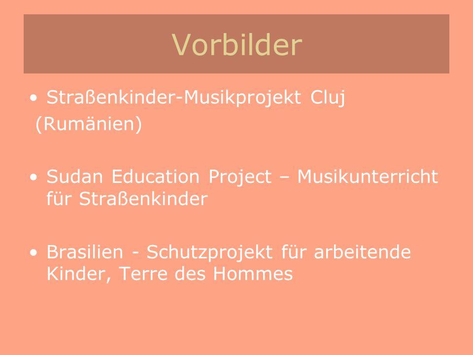 Vorbilder Straßenkinder-Musikprojekt Cluj (Rumänien) Sudan Education Project – Musikunterricht für Straßenkinder Brasilien - Schutzprojekt für arbeite