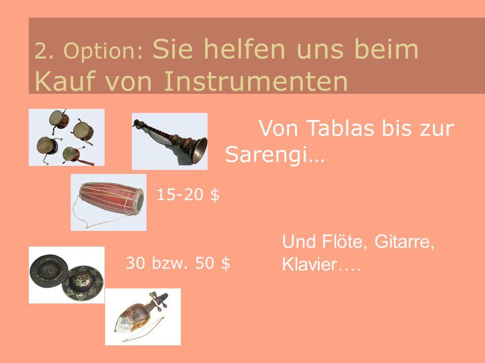 2. Option: Sie helfen uns beim Kauf von Instrumenten Von Tablas bis zur Sarengi… 15-20 $ 30 bzw. 50 $ Und Flöte, Gitarre, Klavier….