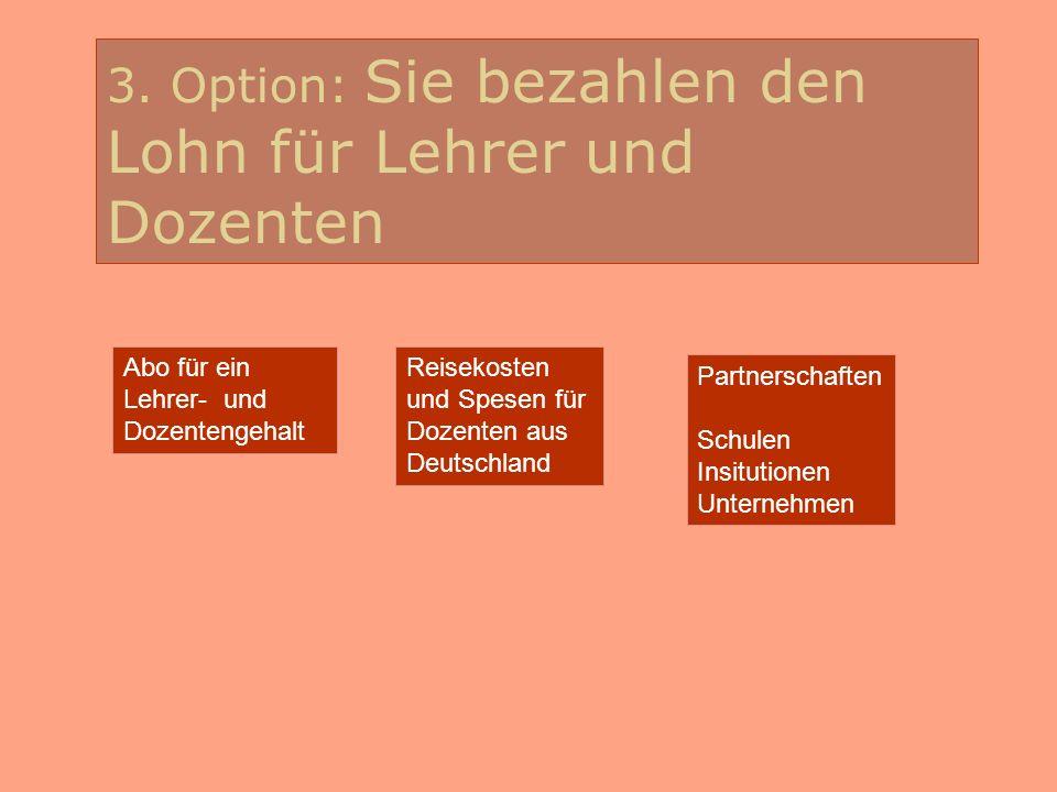 3. Option: Sie bezahlen den Lohn für Lehrer und Dozenten Abo für ein Lehrer- und Dozentengehalt Reisekosten und Spesen für Dozenten aus Deutschland Pa