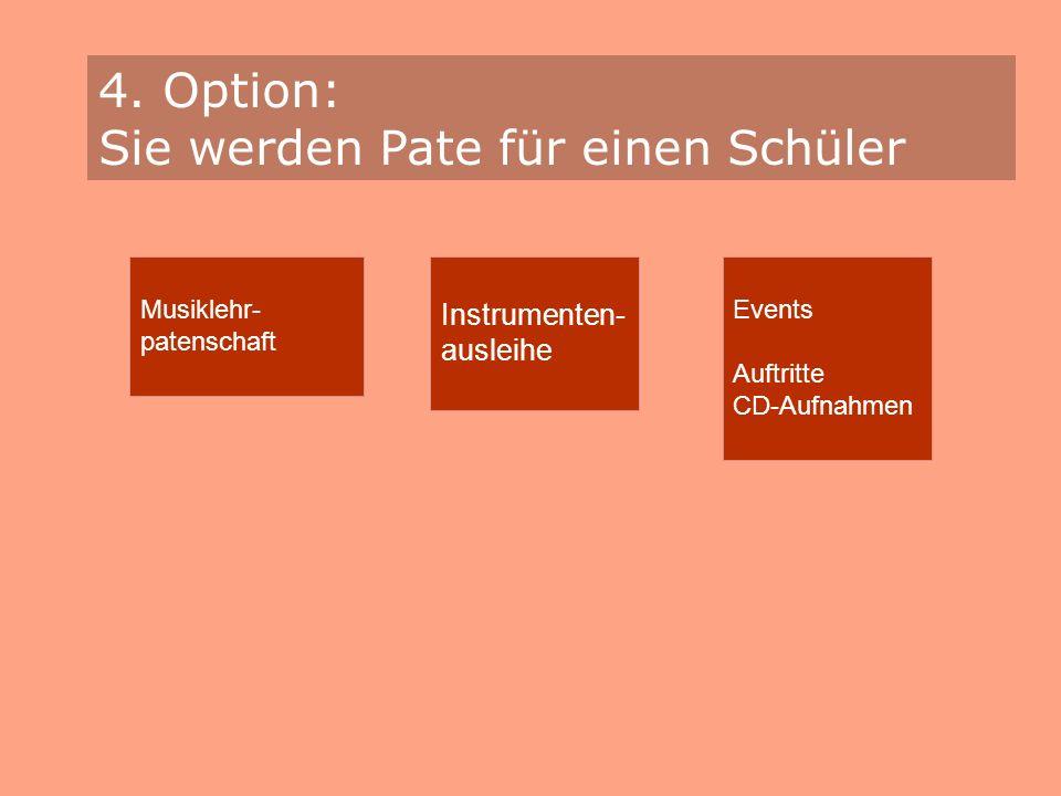 4. Option: Sie werden Pate für einen Schüler Musiklehr- patenschaft Instrumenten- ausleihe Events Auftritte CD-Aufnahmen