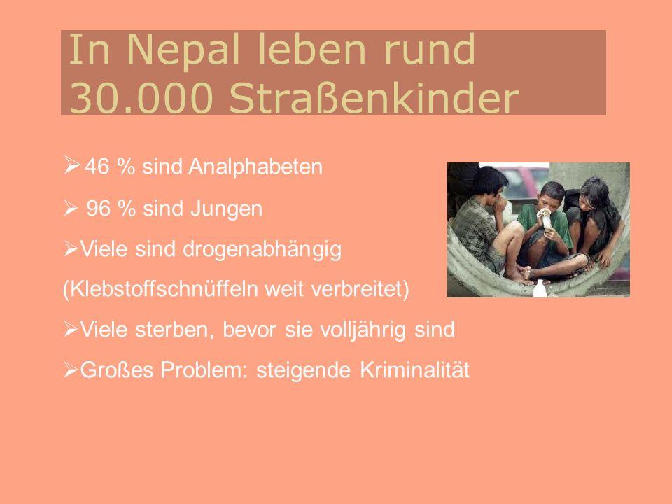 In Nepal leben rund 30.000 Straßenkinder 46 % sind Analphabeten 96 % sind Jungen Viele sind drogenabhängig (Klebstoffschnüffeln weit verbreitet) Viele