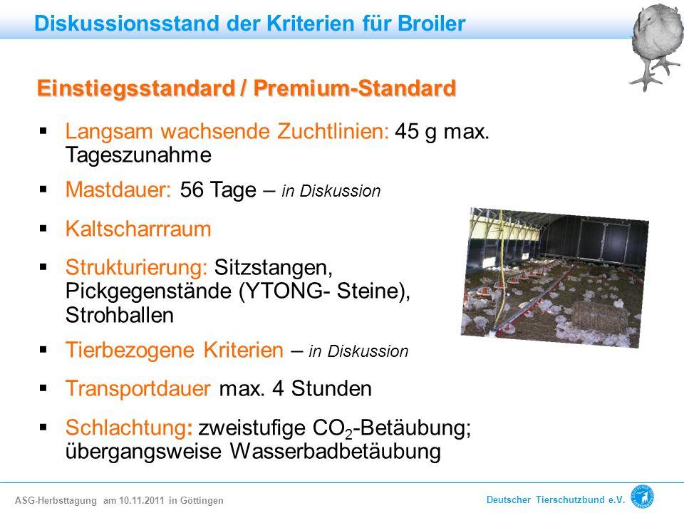 Einstiegsstandard / Premium-Standard Langsam wachsende Zuchtlinien: 45 g max. Tageszunahme Mastdauer: 56 Tage – in Diskussion Kaltscharrraum Strukturi