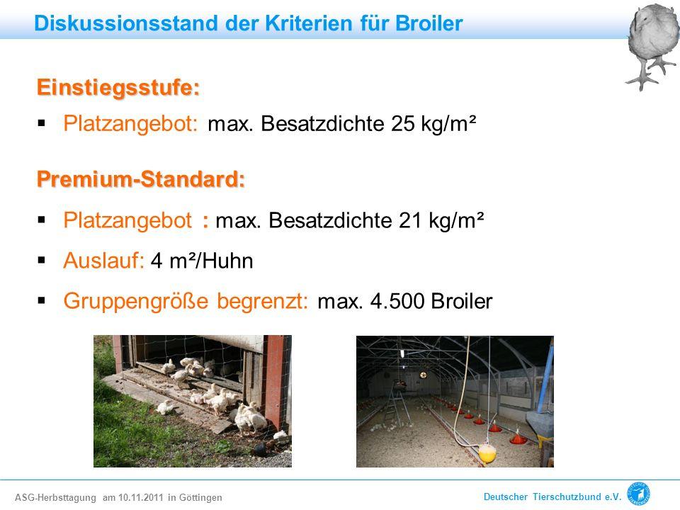 Einstiegsstufe: Platzangebot: max. Besatzdichte 25 kg/m² Premium-Standard: Platzangebot : max. Besatzdichte 21 kg/m² Auslauf: 4 m²/Huhn Gruppengröße b
