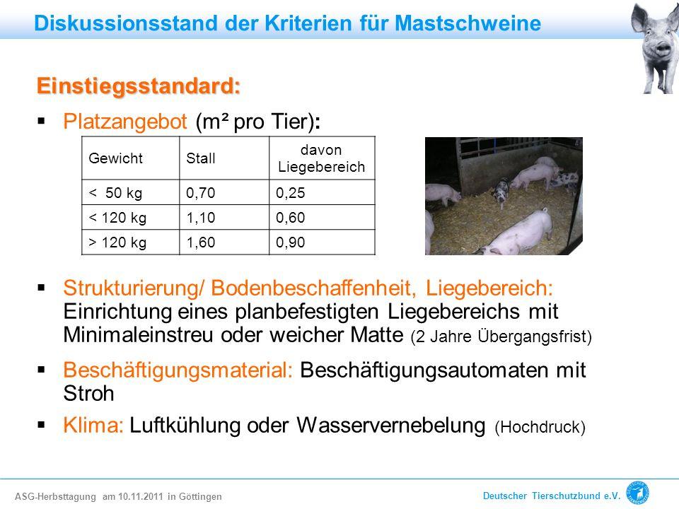 Einstiegsstandard: Platzangebot (m² pro Tier): Strukturierung/ Bodenbeschaffenheit, Liegebereich: Einrichtung eines planbefestigten Liegebereichs mit