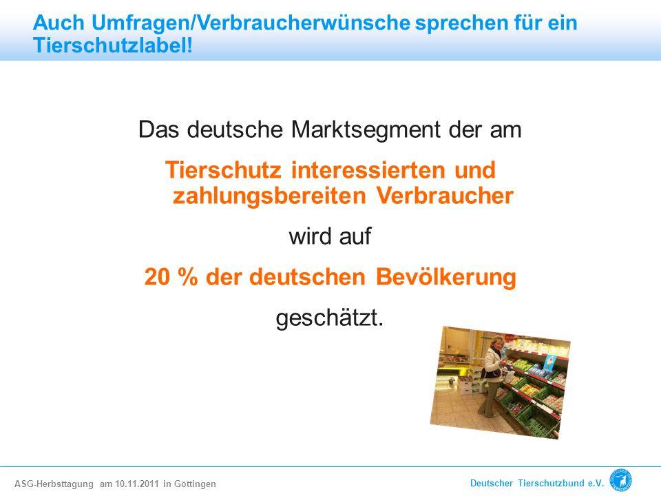 Das deutsche Marktsegment der am Tierschutz interessierten und zahlungsbereiten Verbraucher wird auf 20 % der deutschen Bevölkerung geschätzt. Auch Um