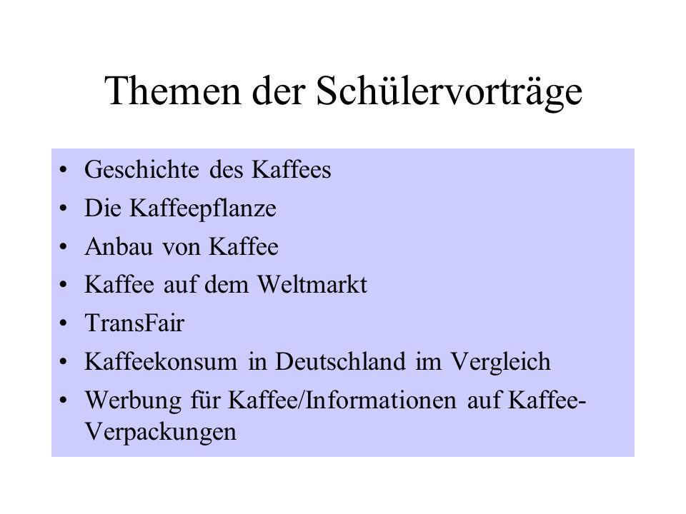 Themen der Schülervorträge Geschichte des Kaffees Die Kaffeepflanze Anbau von Kaffee Kaffee auf dem Weltmarkt TransFair Kaffeekonsum in Deutschland im Vergleich Werbung für Kaffee/Informationen auf Kaffee- Verpackungen