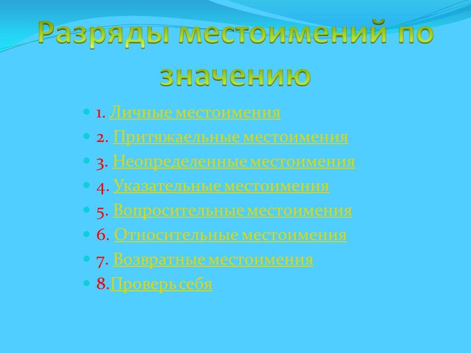 1. Личные местоименияЛичные местоимения 2. Притяжаельные местоименияПритяжаельные местоимения 3. Неопределенные местоименияНеопределенные местоимения