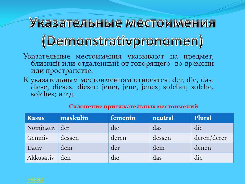 Указательные местоимения указывают на предмет, близкий или отдаленный от говорящего во времени или пространстве. К указательным местоимениям относятся