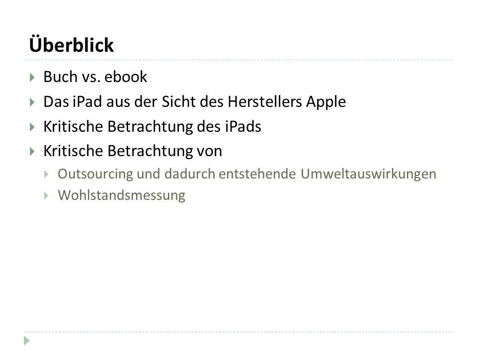 Überblick Buch vs. ebook Das iPad aus der Sicht des Herstellers Apple Kritische Betrachtung des iPads Kritische Betrachtung von Outsourcing und dadurc