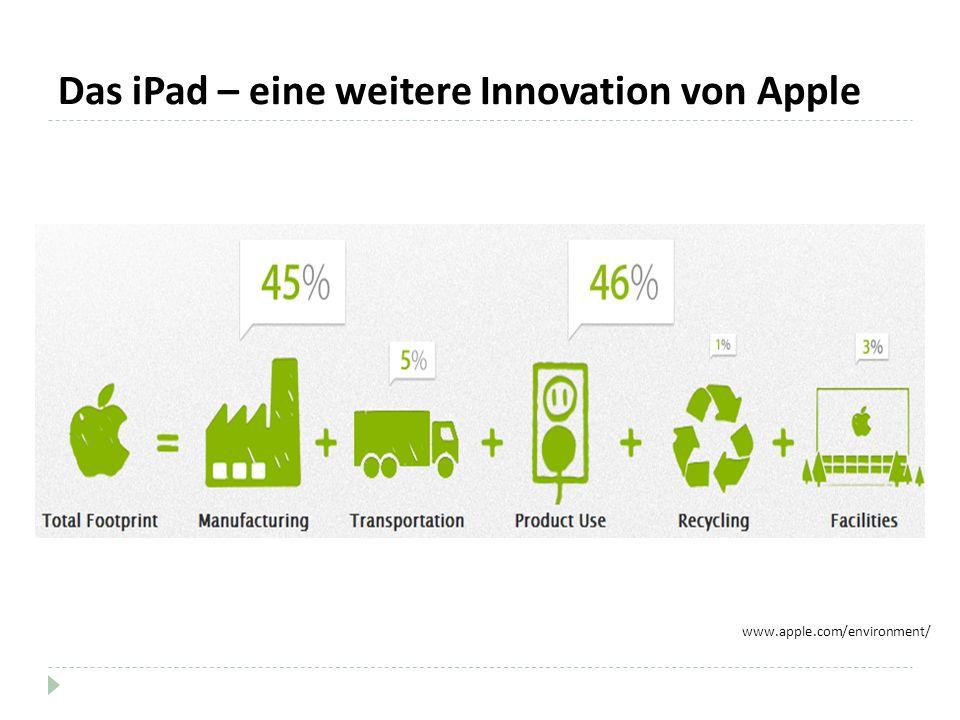 Das iPad – eine weitere Innovation von Apple www.apple.com/environment/