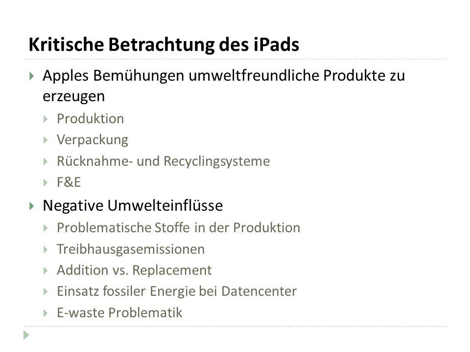 Kritische Betrachtung des iPads Apples Bemühungen umweltfreundliche Produkte zu erzeugen Produktion Verpackung Rücknahme- und Recyclingsysteme F&E Neg