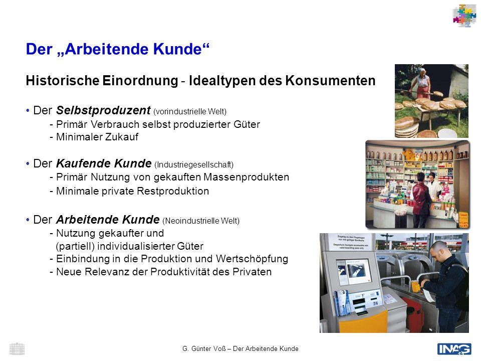 G. Günter Voß – Der Arbeitende Kunde 11 Der Arbeitende Kunde Historische Einordnung - Idealtypen des Konsumenten Der Selbstproduzent (vorindustrielle