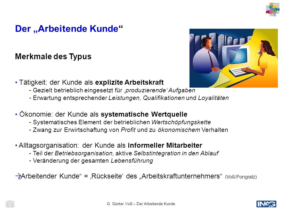 G. Günter Voß – Der Arbeitende Kunde 12 Der Arbeitende Kunde Merkmale des Typus Tätigkeit: der Kunde als explizite Arbeitskraft - Gezielt betrieblich
