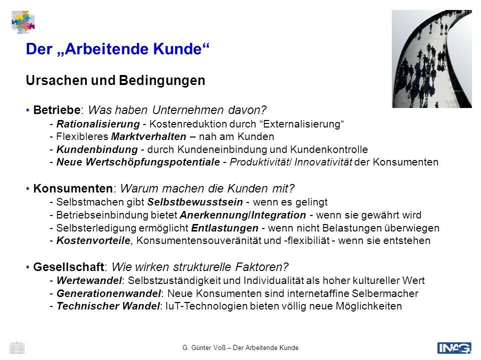 G. Günter Voß – Der Arbeitende Kunde 17 Der Arbeitende Kunde Ursachen und Bedingungen Betriebe: Was haben Unternehmen davon? - Rationalisierung - Kost