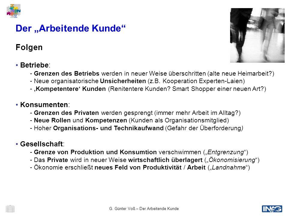 G. Günter Voß – Der Arbeitende Kunde 18 Der Arbeitende Kunde Folgen Betriebe: - Grenzen des Betriebs werden in neuer Weise überschritten (alte neue He