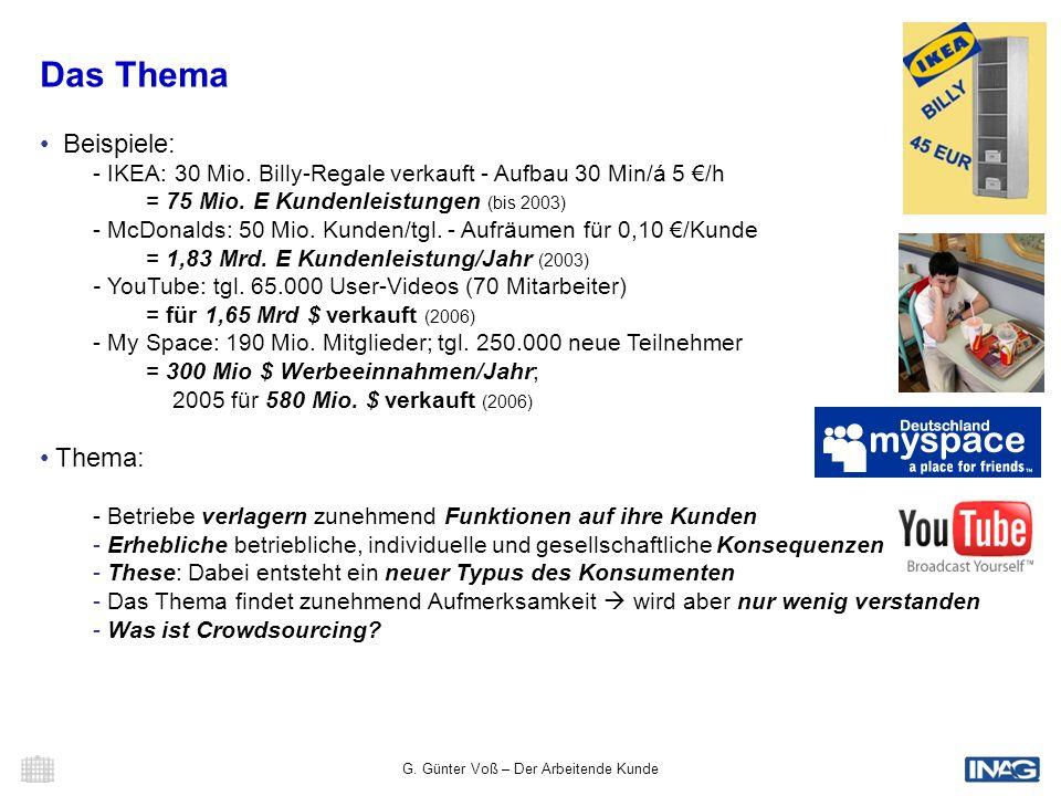 G. Günter Voß – Der Arbeitende Kunde 2 Das Thema Beispiele: - IKEA: 30 Mio. Billy-Regale verkauft - Aufbau 30 Min/á 5 /h = 75 Mio. E Kundenleistungen