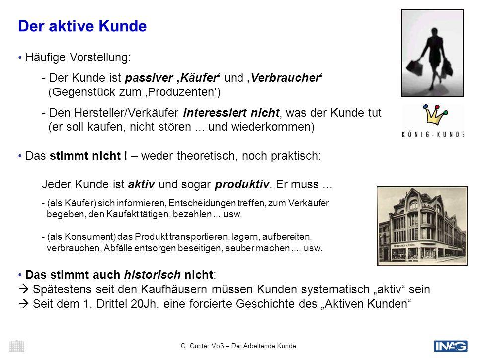 G. Günter Voß – Der Arbeitende Kunde 3 Der aktive Kunde Häufige Vorstellung: - Der Kunde ist passiver Käufer und Verbraucher (Gegenstück zum Produzent