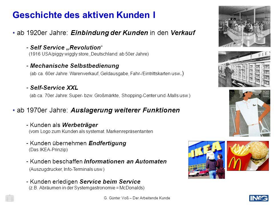 G. Günter Voß – Der Arbeitende Kunde 4 Der Arbeitende Kunde © G. Günter Voß - TU Chemnitz/INAG Geschichte des aktiven Kunden I ab 1920er Jahre: Einbin