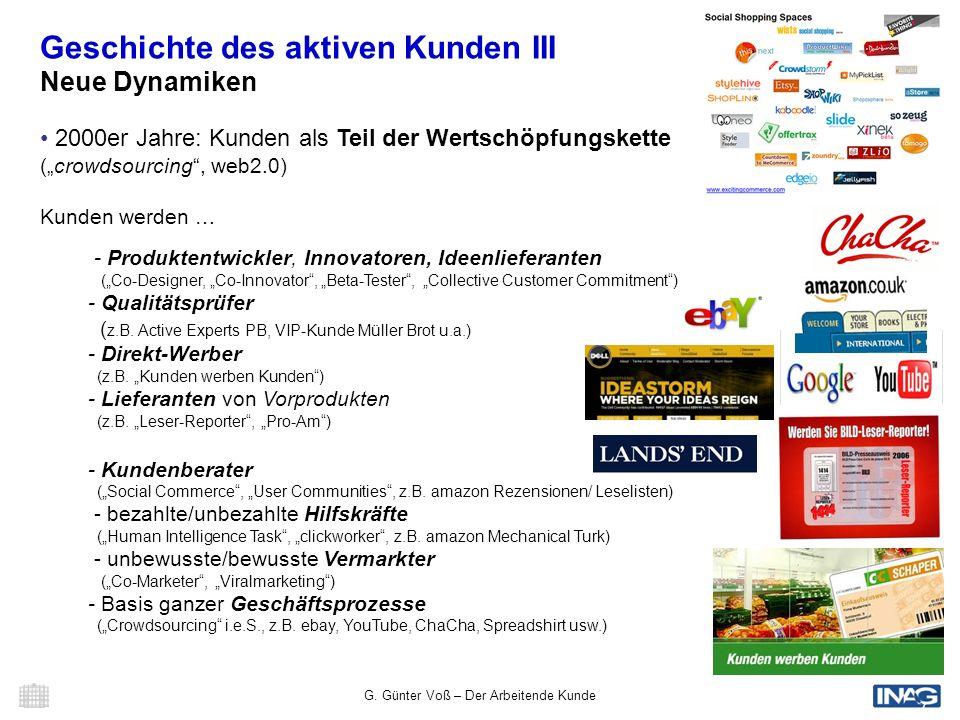 G. Günter Voß – Der Arbeitende Kunde 7 Geschichte des aktiven Kunden III Neue Dynamiken 2000er Jahre: Kunden als Teil der Wertschöpfungskette (crowdso