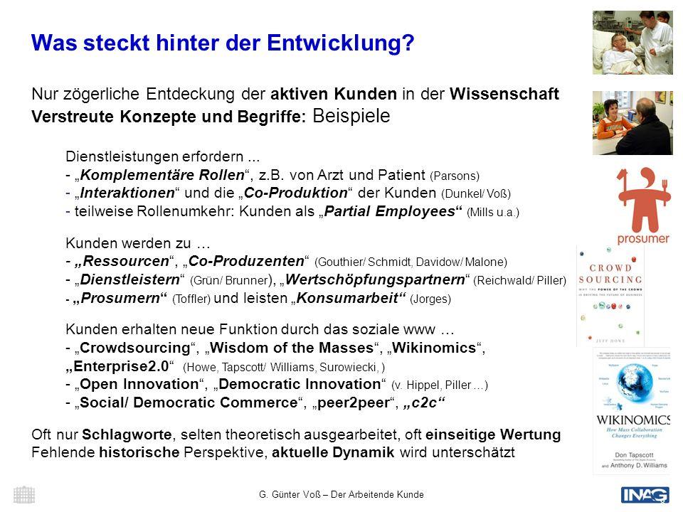 G. Günter Voß – Der Arbeitende Kunde 8 Was steckt hinter der Entwicklung? Nur zögerliche Entdeckung der aktiven Kunden in der Wissenschaft Verstreute